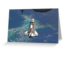 The Space Shuttle in Orbit Around The Earth - As seen from the ISS Greeting Card