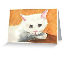 White Kitty Greeting Card