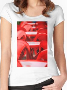 Red abstract with chairs Women's Fitted Scoop T-Shirt