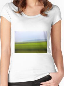 Motion blurred green landscape abstract Women's Fitted Scoop T-Shirt