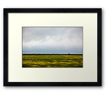 Motion blurred green landscape abstract Framed Print