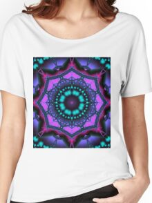 Kaleidoscope abstract in purple, pink and turquoise Women's Relaxed Fit T-Shirt