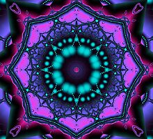 Kaleidoscope abstract in purple, pink and turquoise by walstraasart