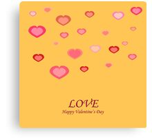 Card with hearts  on the Day of St. Valentine Canvas Print