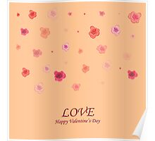 card with roses  on Valentine's Day Poster