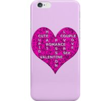 Hot Pink Marble Heart With Words iPhone Case/Skin