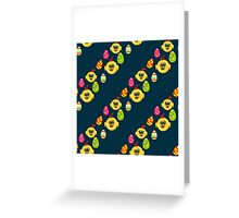 Easter seamless pattern with eggs and chicks on the darck background Greeting Card