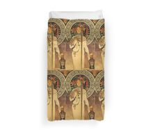'La Trappistine' by Alphonse Mucha (Reproduction) Duvet Cover