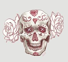 Sugar Skull with Roses by Nycherus