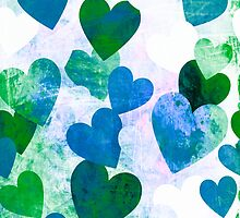 Fab Green & Blue Grungy Hearts Design by Groovyfinds