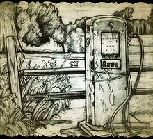Vintage gas pump drawing by RobCrandall