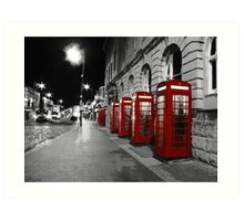 Red Phone Boxes Blackpool Art Print
