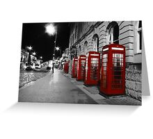 Red Phone Boxes Blackpool Greeting Card