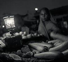 Vegetable Vendor, Jodhpur, VegetableMarket, Rajasthan, India, Night, gaslamp, moon by jeetpal