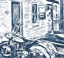 Motorbike behind old Bridgwater Hospital. Sticker