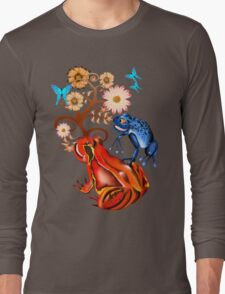 Red and Blue Frogs and flowers Long Sleeve T-Shirt