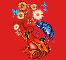 Red Frog and flowers Womens Fitted T-Shirt
