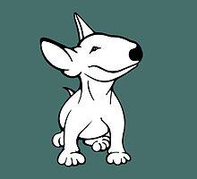 English Bull Terrier Pup White by Sookiesooker