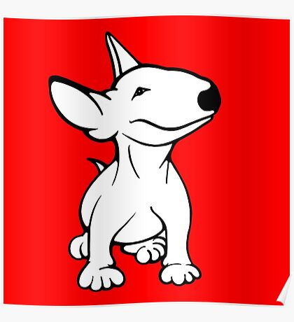 English Bull Terrier Pup White Poster