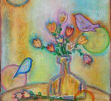 Birds and Flower Vase  by sunnyklee