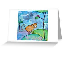 Cat and a Bird Greeting Card