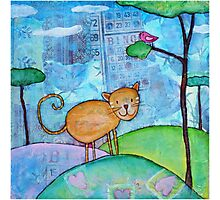 Cat and a Bird Photographic Print