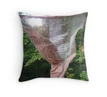 prayer flag tatter in the portal Throw Pillow