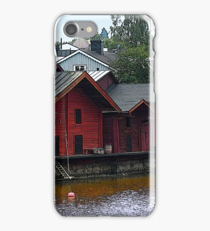 Red Storehouses in Porvoo, Finland iPhone Case/Skin