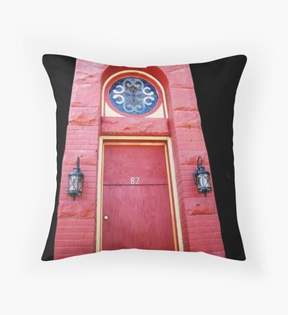What's behind that red door? Throw Pillow