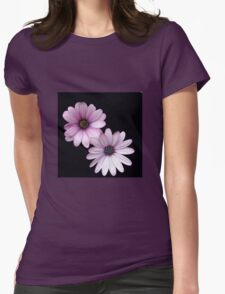 Two Pink Cape Daisies on Black Background T-Shirt