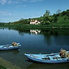Boats on tweed at Loanend Northumbria England 198405290053  by Fred Mitchell