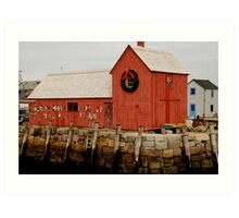 christmas at rockport Art Print