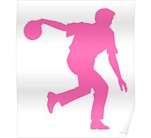 Pink Bowler Silhouette Poster