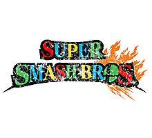 Super Smash Bros Logo W/ Mario World Colors Photographic Print