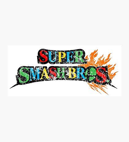 Super Smash Bros Logo W/ Mario World Colors Photographic Print