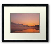 Stormfront coming - Misty sunrise over lake Framed Print