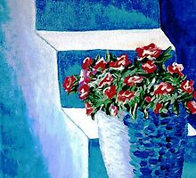 More Flowers on Blue Steps by WhiteDove Studio kj gordon