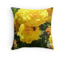 ladybug on a marigold Throw Pillow