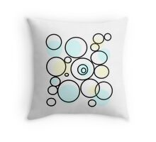 PASTEL abstract art, blue and yellow, circles, dots Throw Pillow