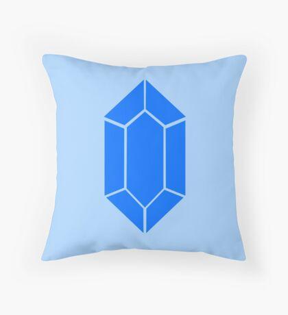 Blue Zelda Rupee Throw Pillow