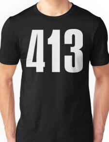 413 Massachusetts [White Ink] | Phone Area Code Shirts Unisex T-Shirt