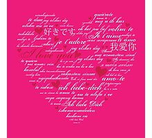 Words of Love Bright Pink Designer Art Photographic Print
