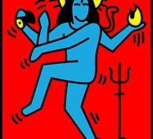 Dancing Shiva Keith Haring Tribute by tshirtbaba
