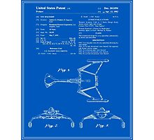 Klingon Fighter Toy Figure Patent - Blueprint Photographic Print