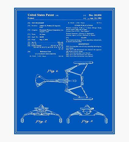 Klingon Fighter Toy Figure Patent - Blueprint Photographic Print