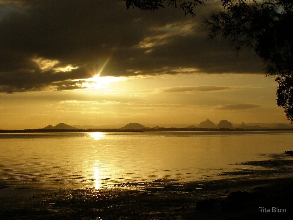 The Glass House Mountains in sunset glow. Queensland, Aust. by Rita Blom
