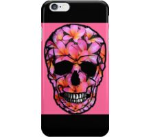 Pink Skull with Frangipani Flowers iPhone Case/Skin