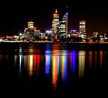Perth at night over the Swan River, Western Australia by Matthew Reid