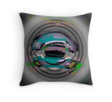 Tunnel Vision, flipped photo, ABSTRACT, TEXTILE ART, blue, plum, multicolored  Throw Pillow