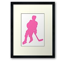Pink Hockey Player Silhouette Framed Print